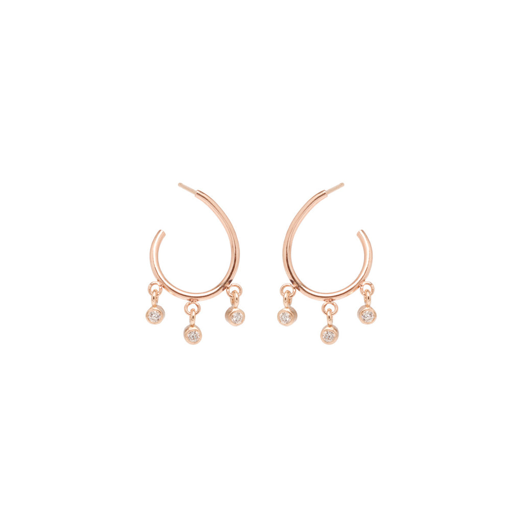 Zoë Chicco 14kt Yellow Gold Small Front to Back 3 Dangling Diamond Hoop Earrings