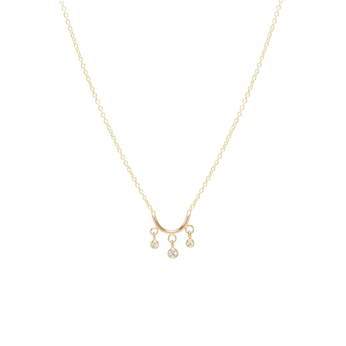 Zoë Chicco 14kt Yellow Gold Tiny Curved Bar Necklace With Dangling White Diamonds