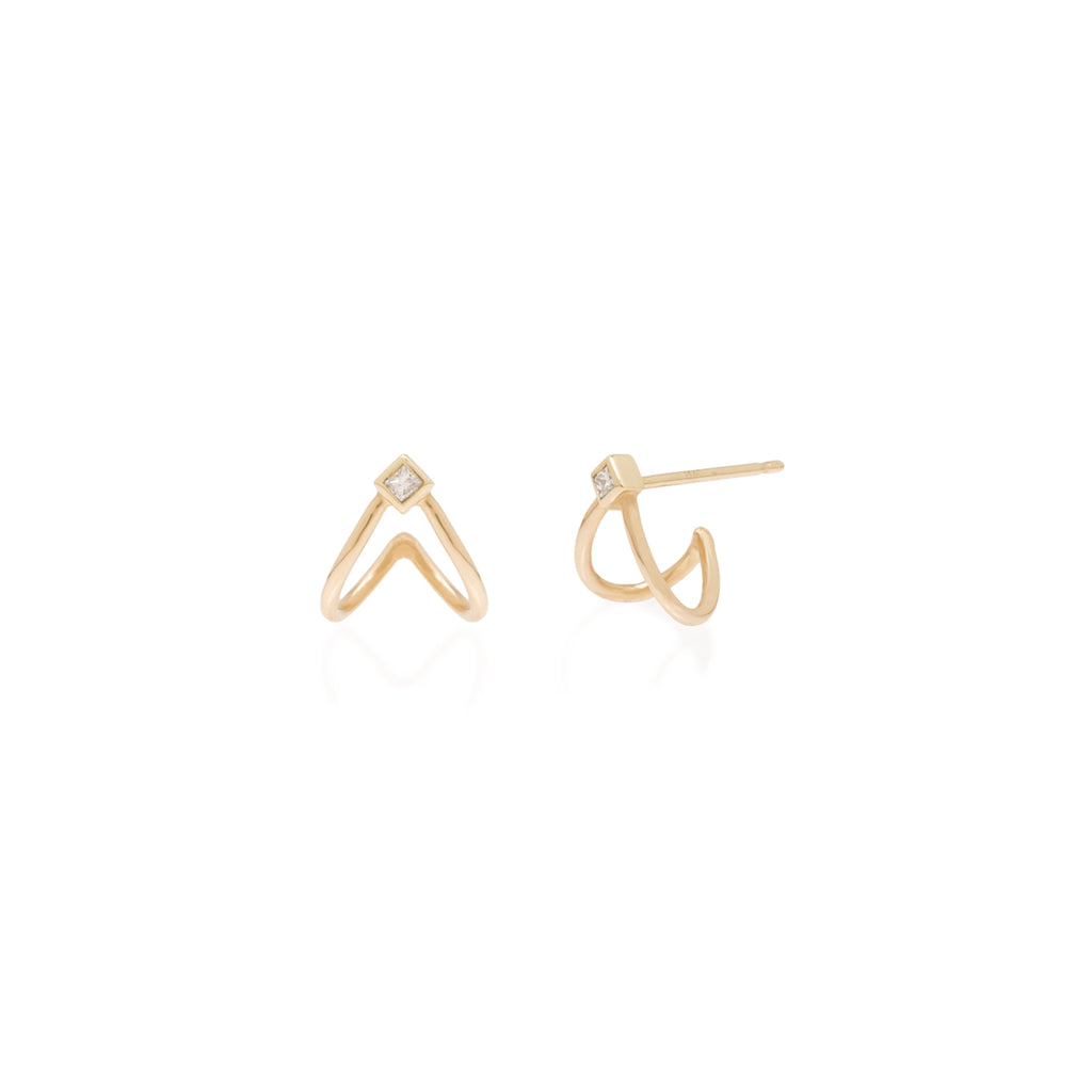 Zoë Chicco 14kt Yellow Gold Princess Diamond Split Huggie Hoop Earrings