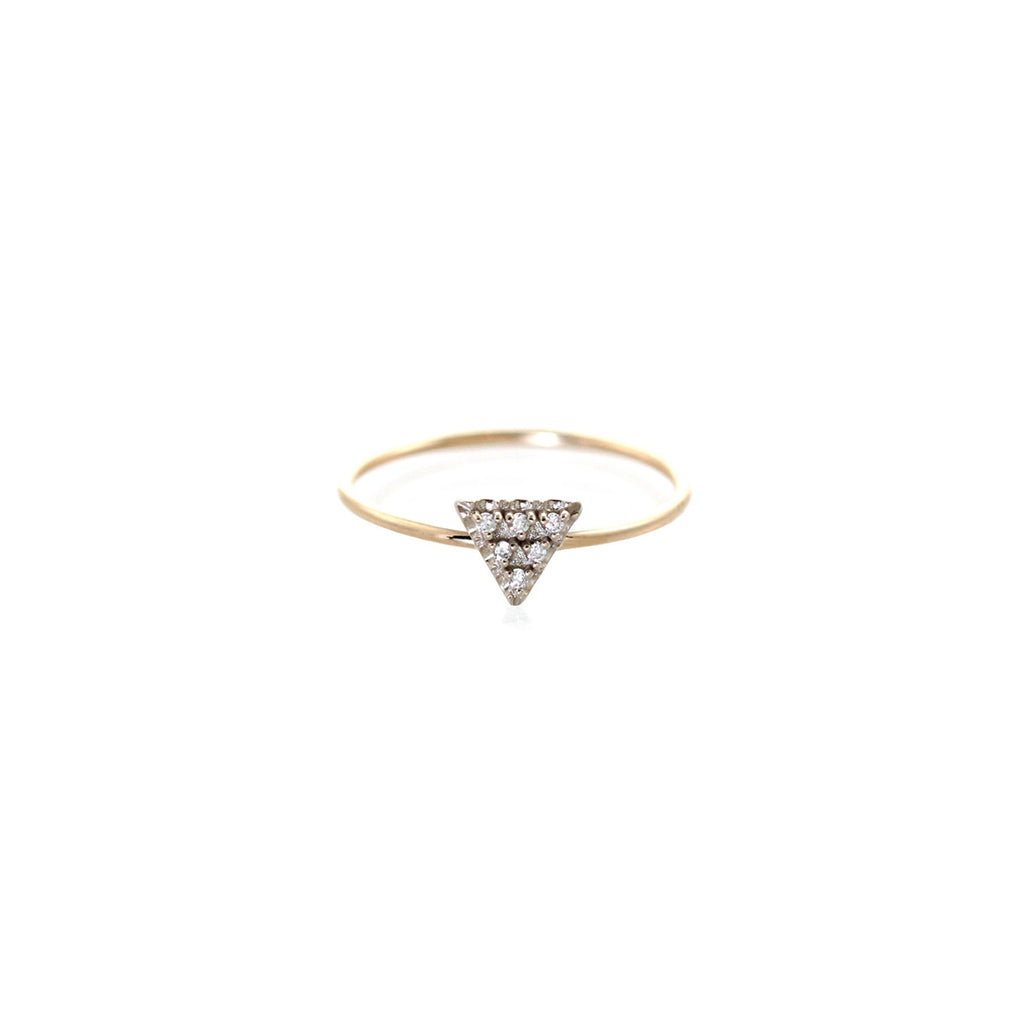 mixed 14k pave triangle ring