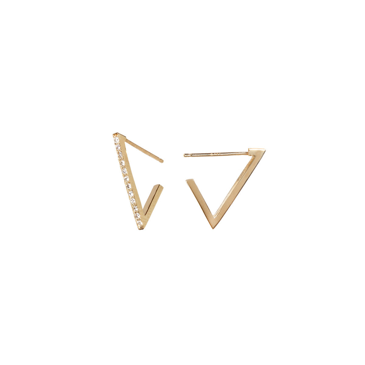 14k small pave triangle hoops