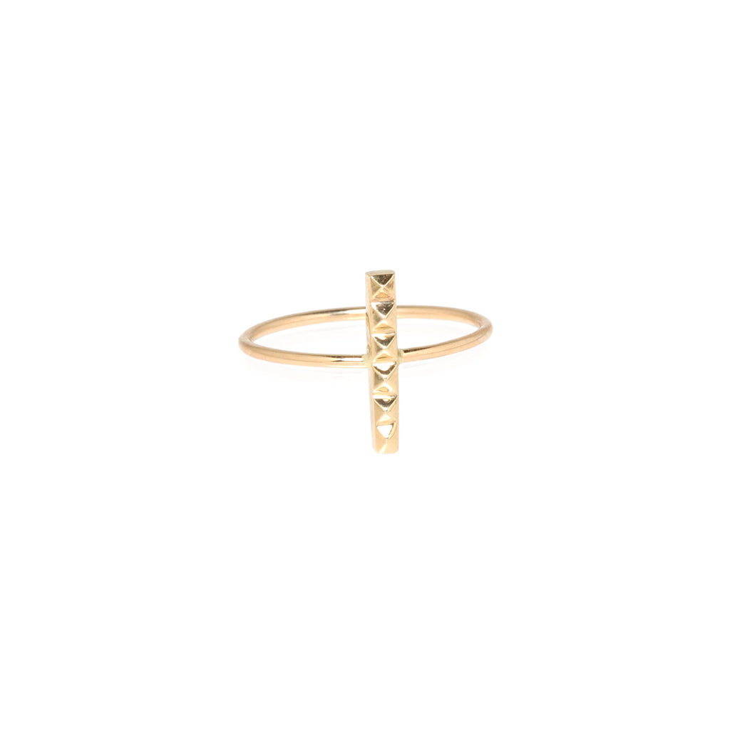 14k tiny spikes vertical bar ring