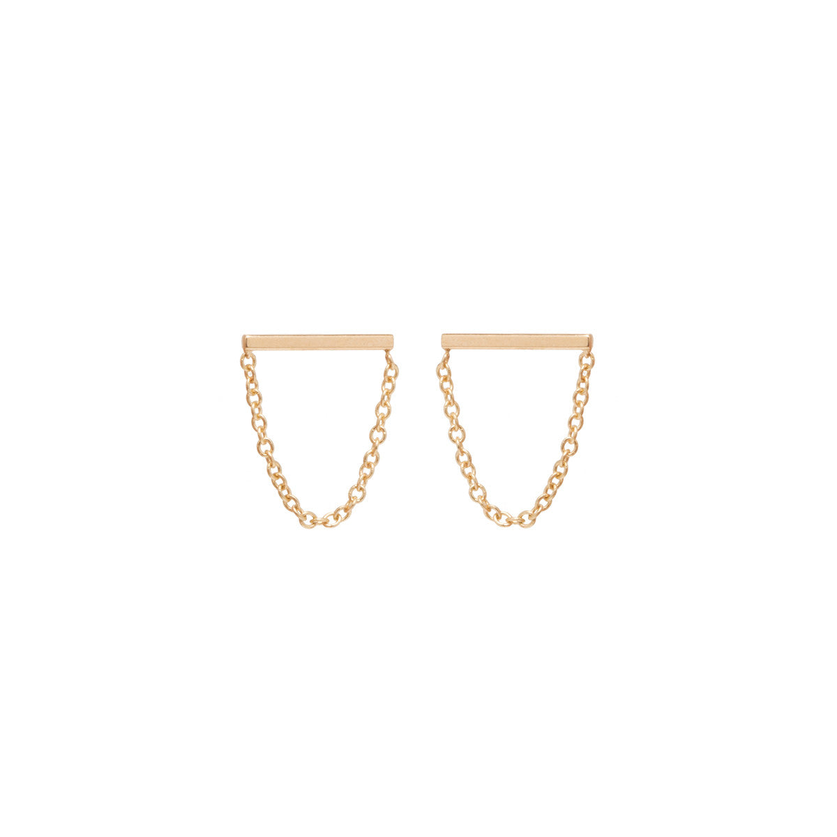 Zoë Chicco 14kt Yellow Gold Chain Bar Stud Drop Earrings