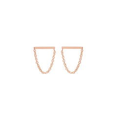 Zoë Chicco 14kt Rose Gold Chain Bar Stud Drop Earrings