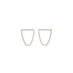 Zoë Chicco 14kt White Gold Chain Bar Stud Drop Earrings