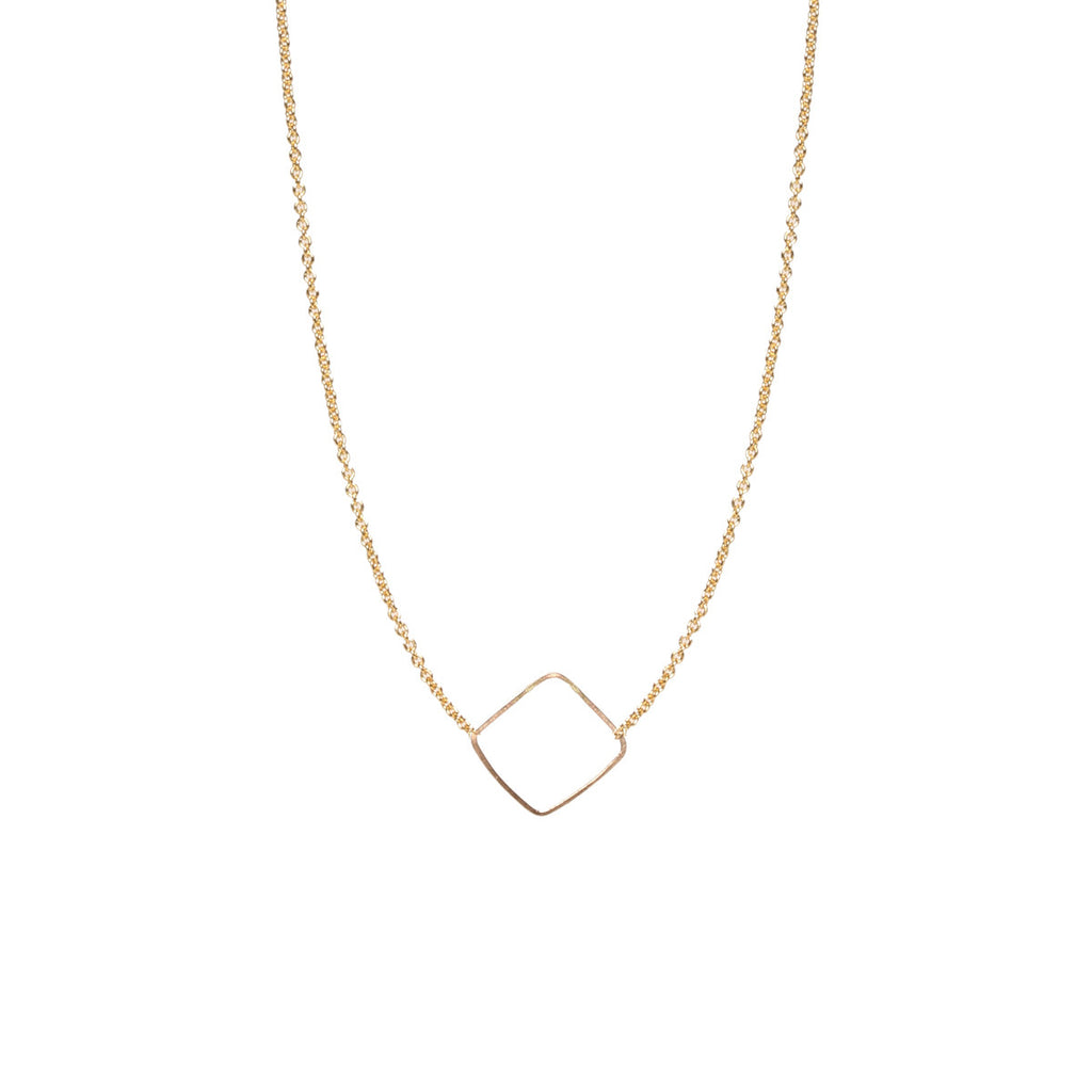 14k tiny open diamond shape choker necklace
