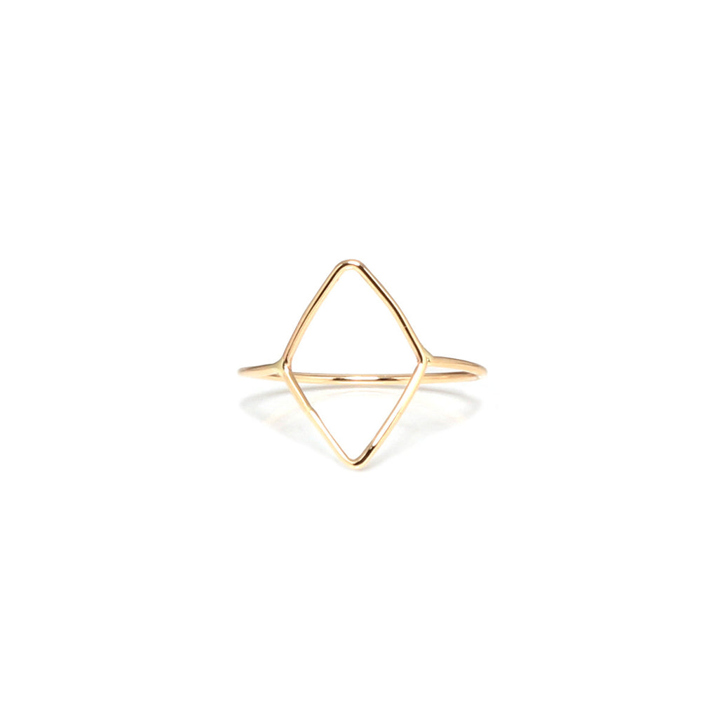 14k tiny diamond outline ring