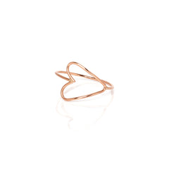 14k small heart outline ring