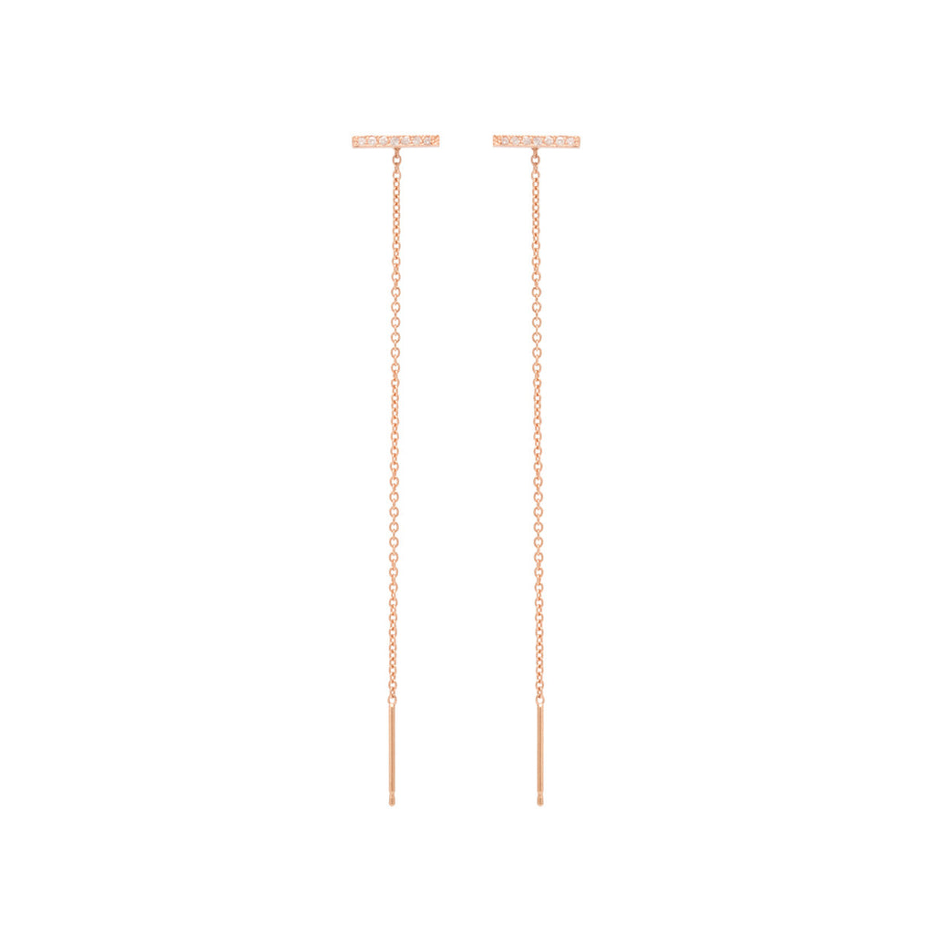 14k thin pave bar stud threader earrings