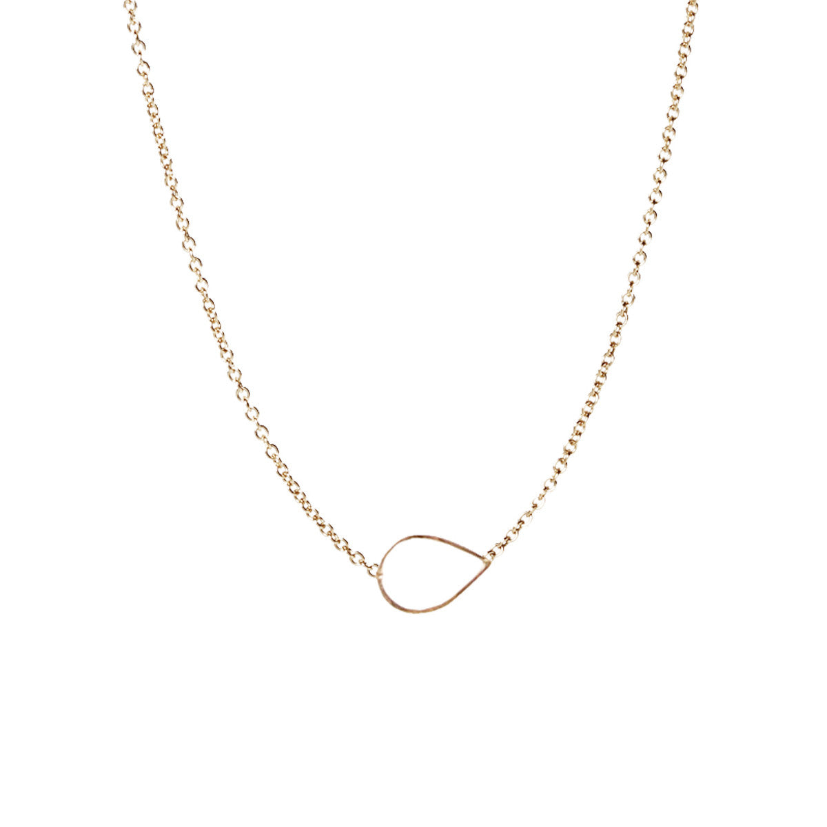 14k tiny hammered tear necklace
