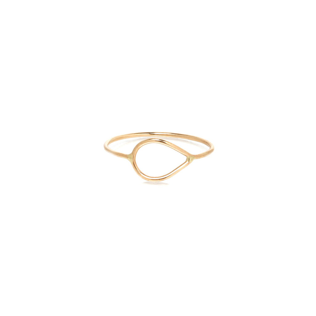 14k tiny tear outline ring