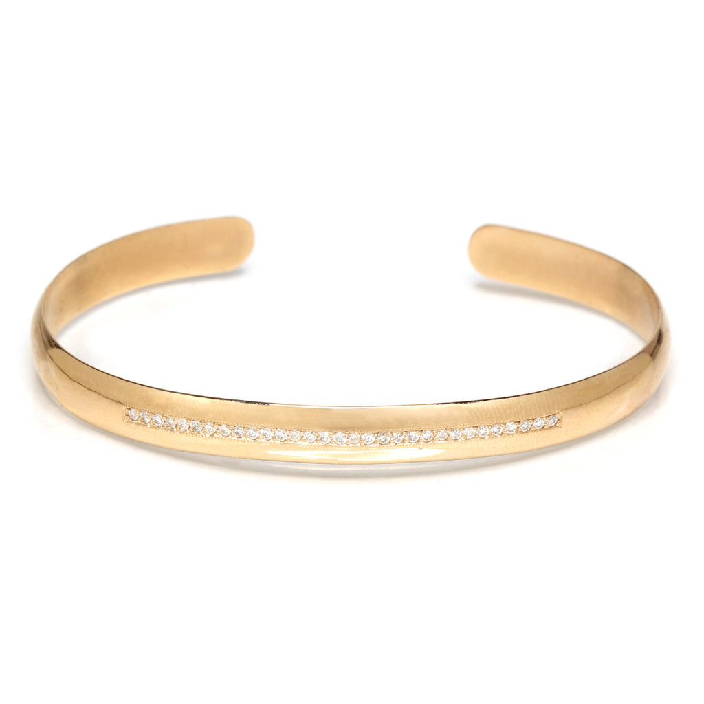 14k pave wide open cuff