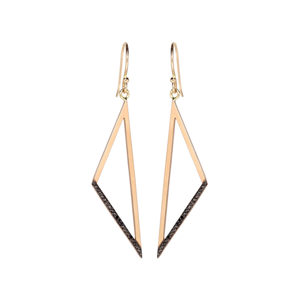 14k black pave wide open triangle earrings