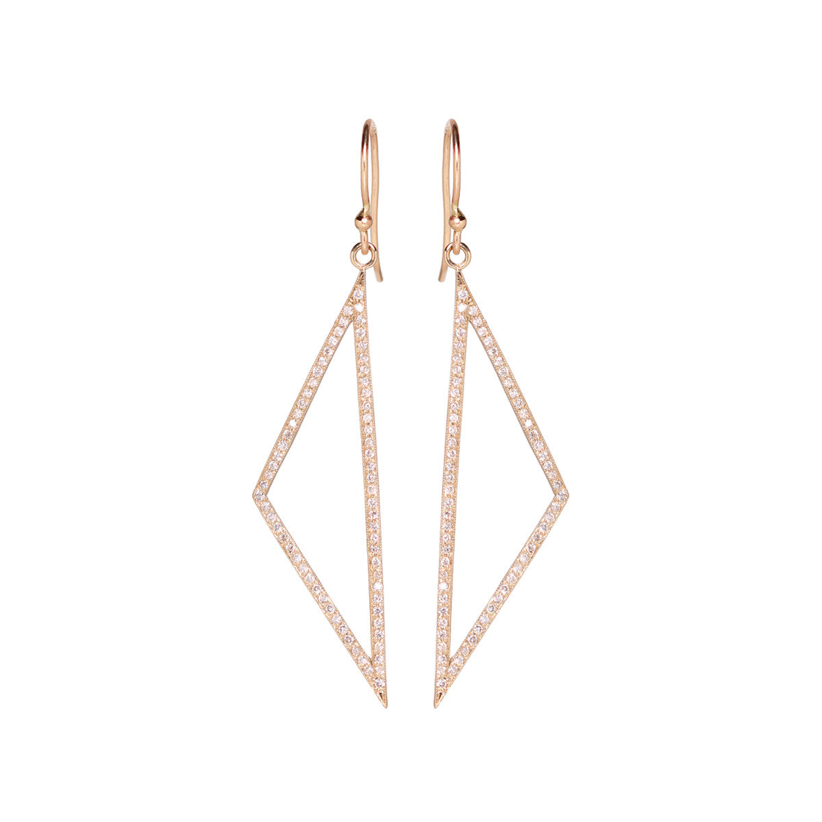 14k pave wide open triangle earrings