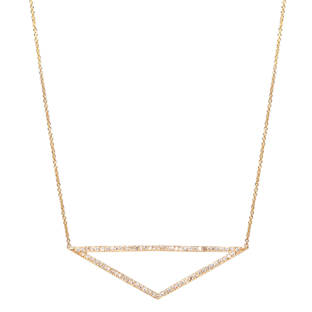 14k pave wide open triangle necklace