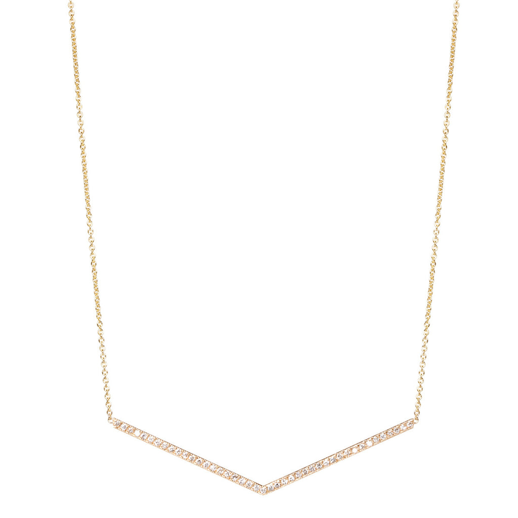 14k wide pave V necklace