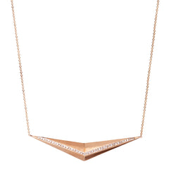 14k pave wide pyramid necklace