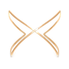 Zoë Chicco 14kt Yellow Gold Curved Crossover X Cuff Bracelet