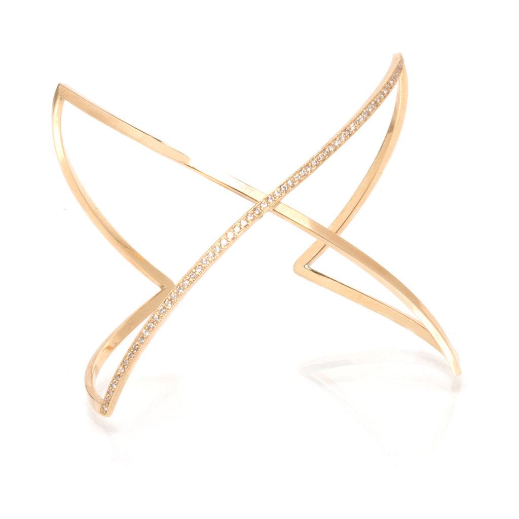 14k pave curved crossover X cuff