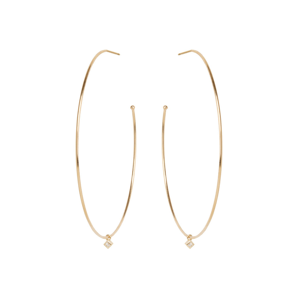 14k extra large hoops with dangling princess diamonds