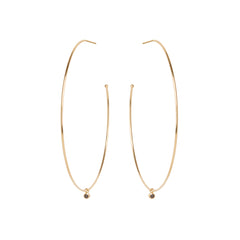 Zoë Chicco 14kt Yellow Gold Extra Large Hoops With Dangling Black Diamonds
