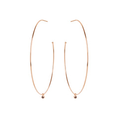 Zoë Chicco 14kt Rose Gold Extra Large Hoops With Dangling Black Diamonds