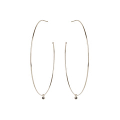 Zoë Chicco 14kt White Gold Extra Large Hoops With Dangling Black Diamonds