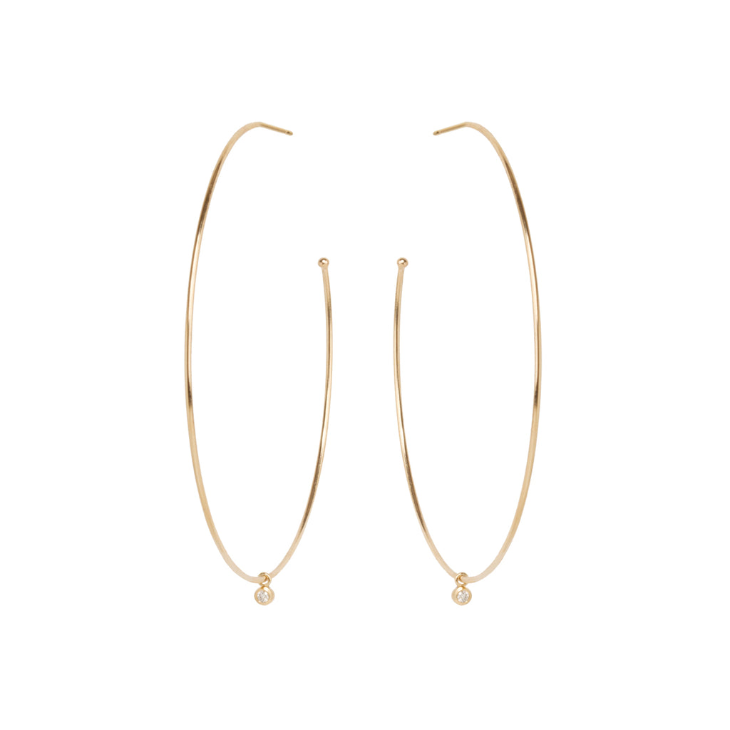 Zoë Chicco 14kt Yellow Gold Extra Large Hoops with Dangling Diamonds