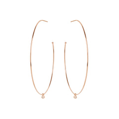 Zoë Chicco 14kt Rose Gold Extra Large Hoops with Dangling Diamonds