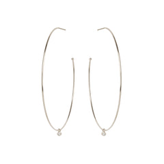 14k extra large hoops with dangling diamonds