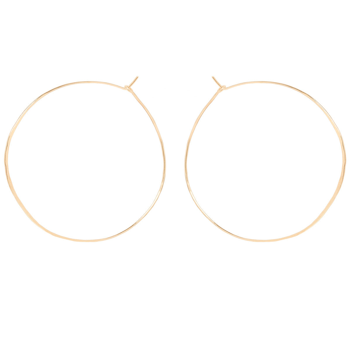 14k extra large hammered hoops