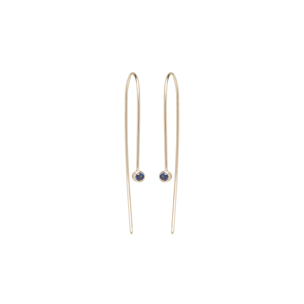 14k blue sapphire wire earrings