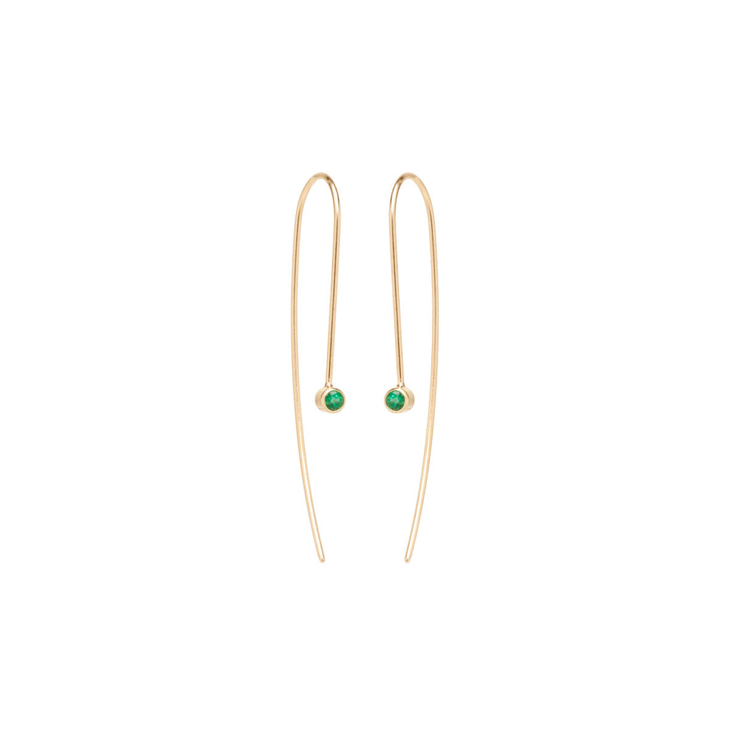 14k emerald wire earrings