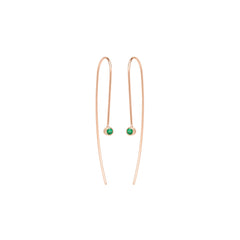 Zoë Chicco 14kt Rose Gold Emerald Wire Earrings