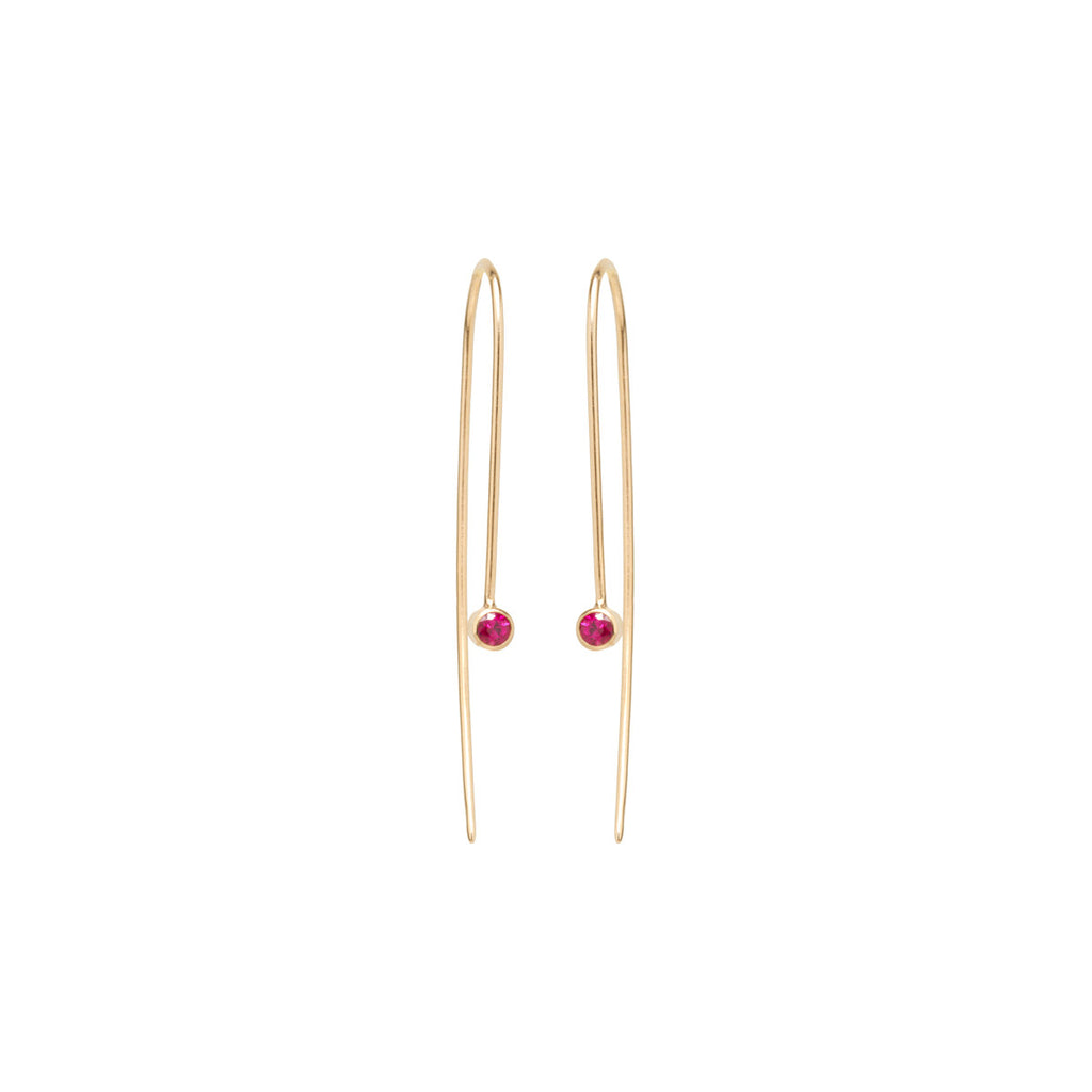 14k ruby wire earrings