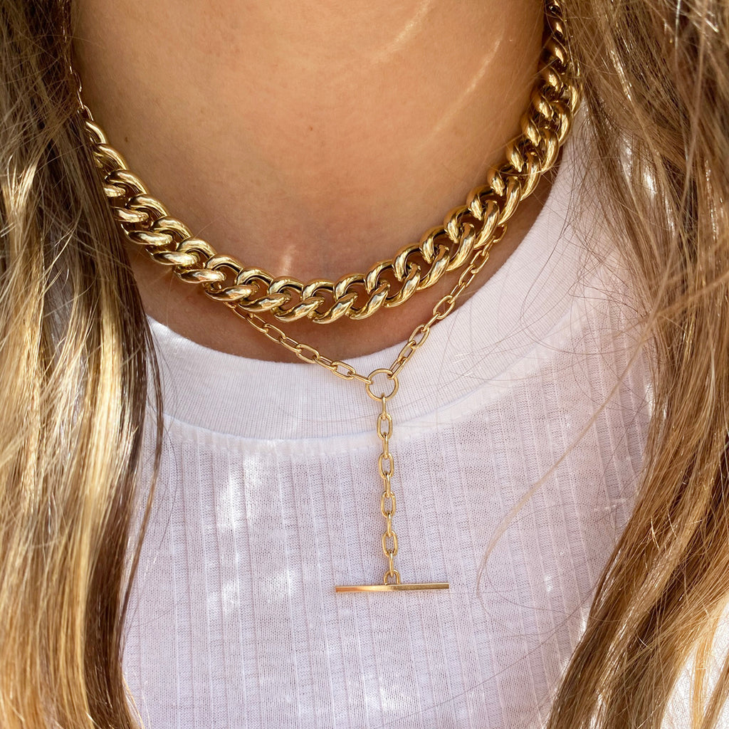 14k gold XXL thick link curb chain necklace