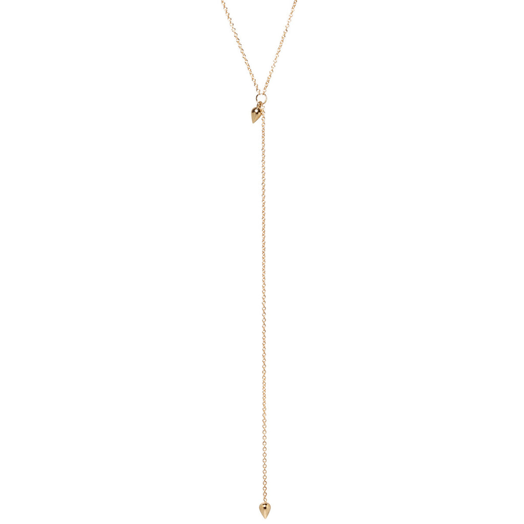 14k tiny bullets lariat necklace
