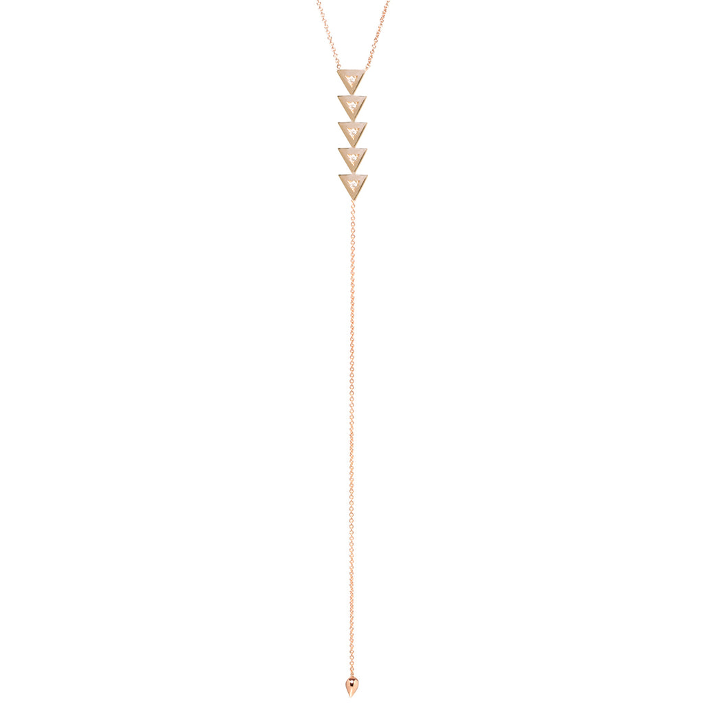 14k vertical triangle lariat necklace