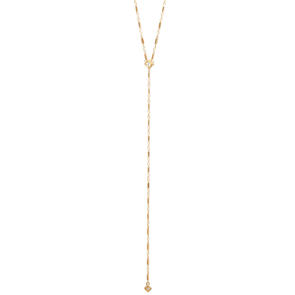 14k long diamond shape lariat necklace
