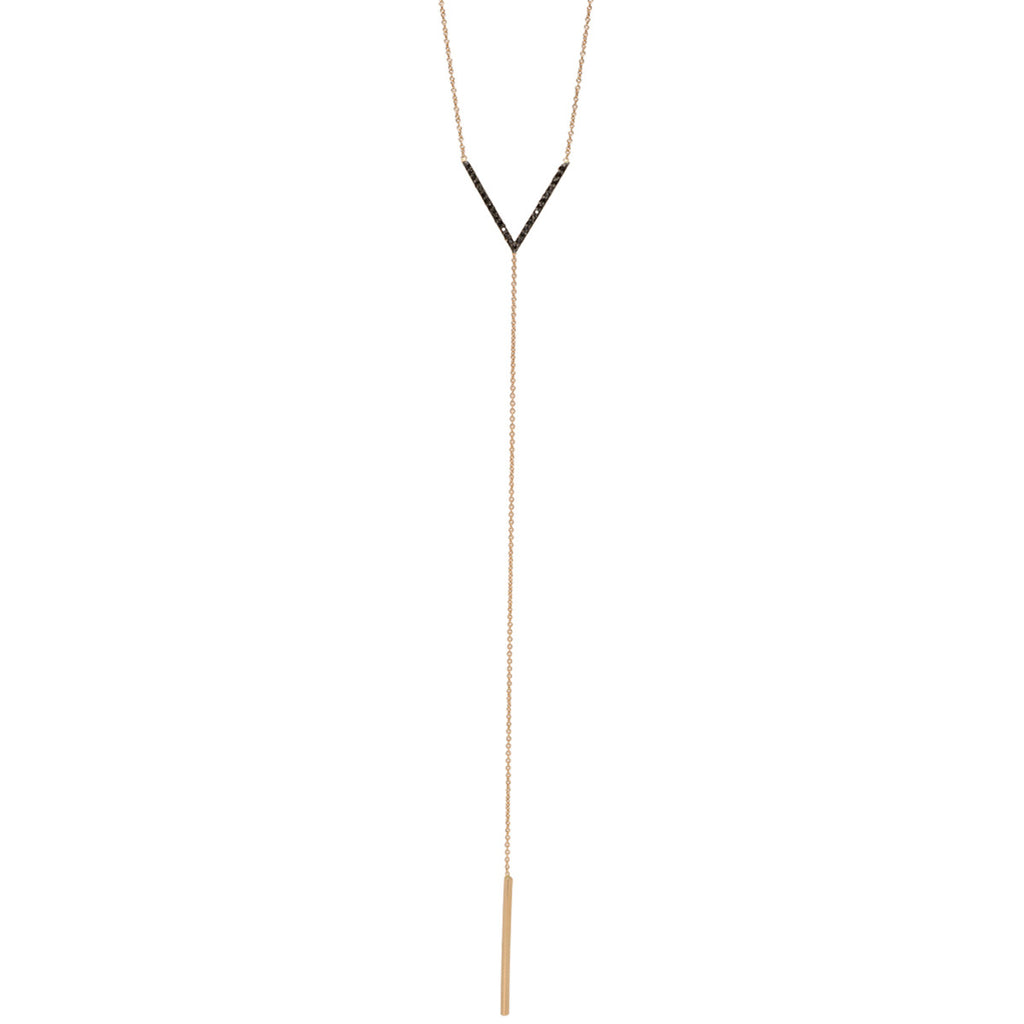 14k black pave V lariat necklace