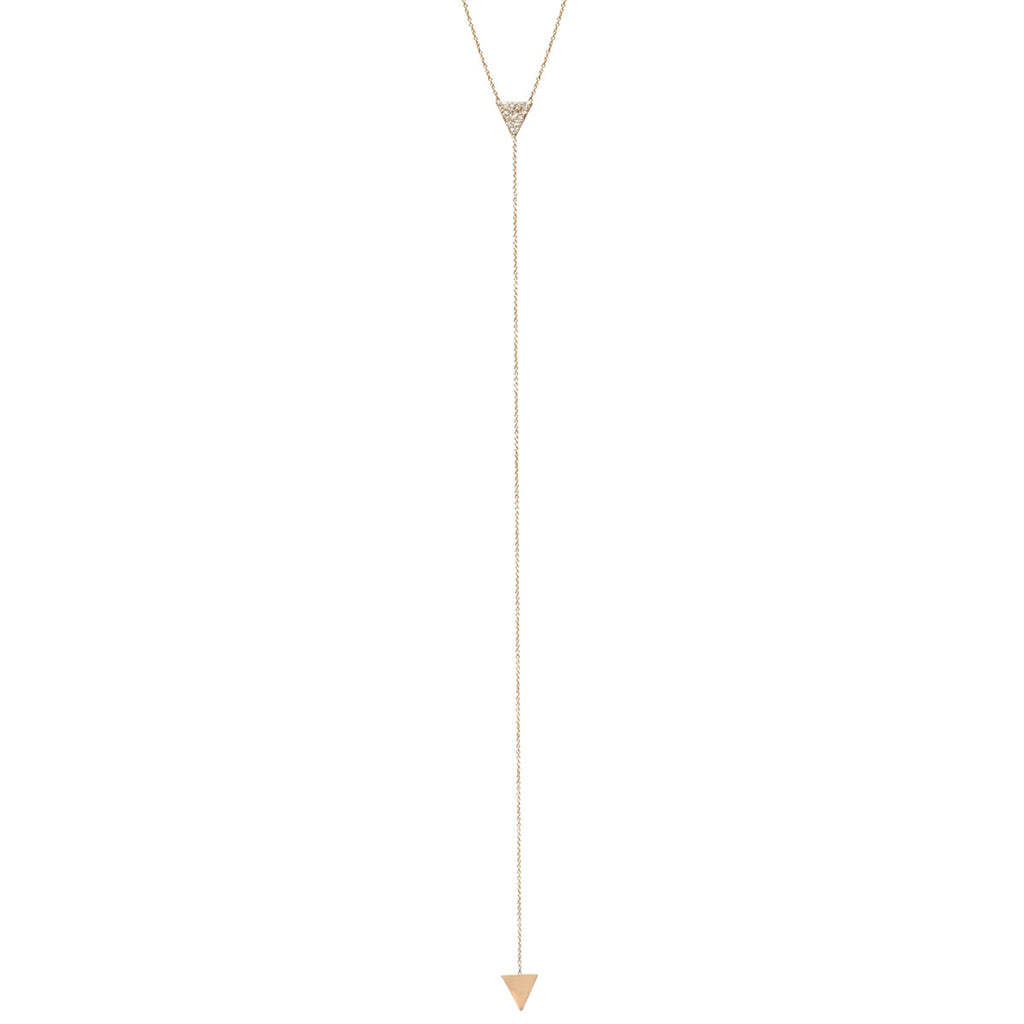 14k long pave triangle lariat necklace