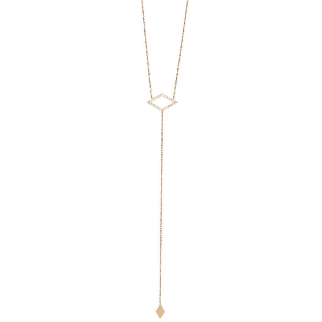 14k pave open diamond lariat necklace