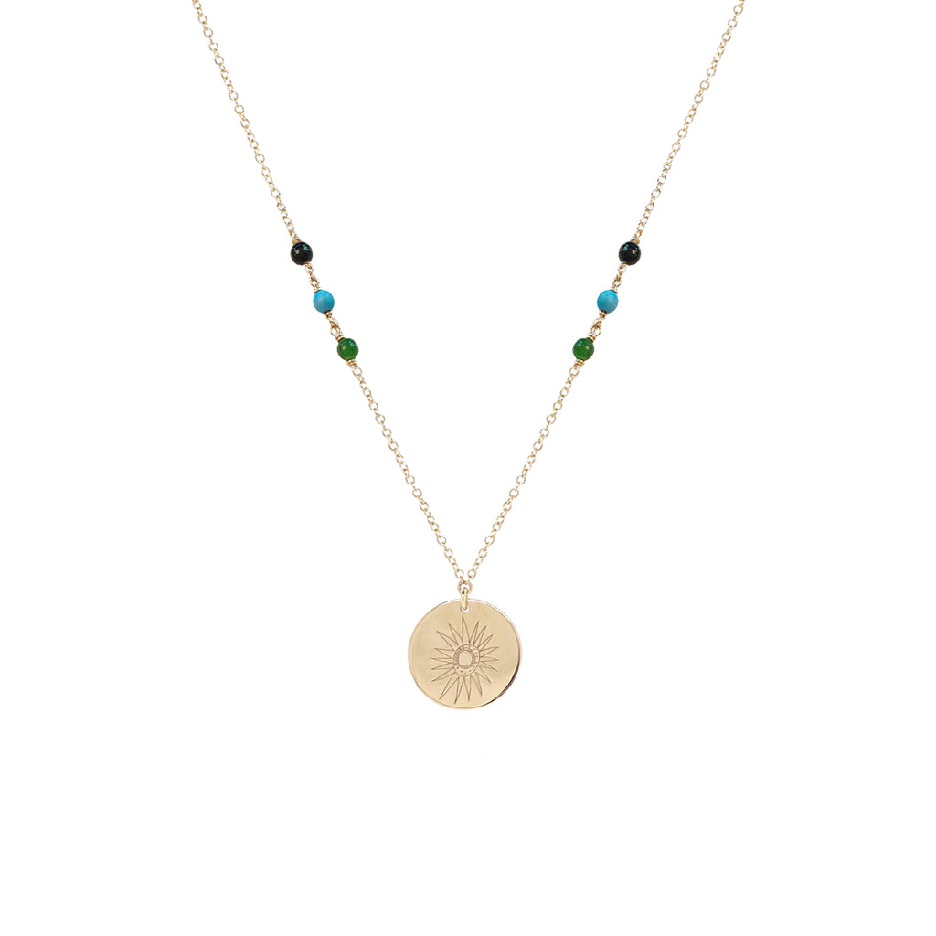 20x20 | Zoë Chicco | Justina Blakeney | Sun Disc & Mixed Stone Necklace