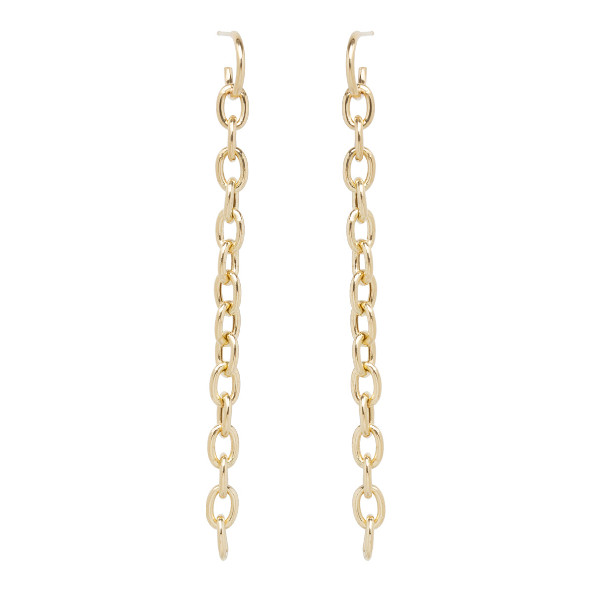 14k huggie hoop long link earrings