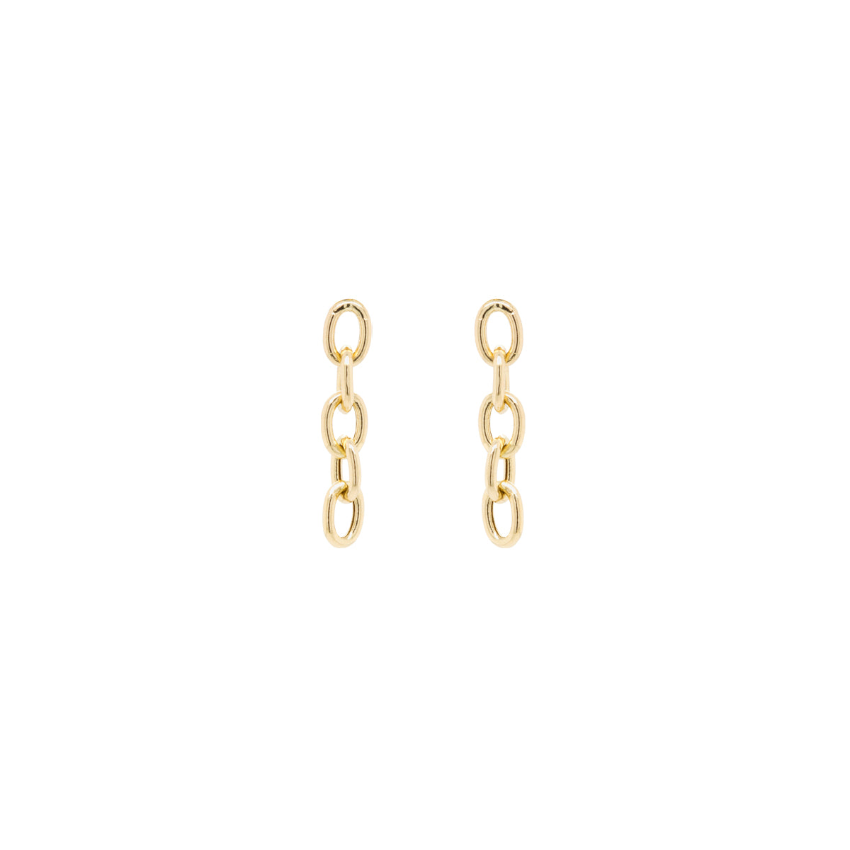 14k large oval link chain earrings