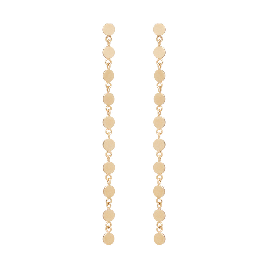 14k 10 itty bitty round disc drop earrings