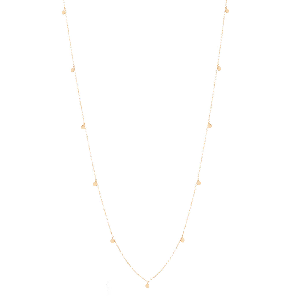 14k long 11 itty bitty dangling discs necklace