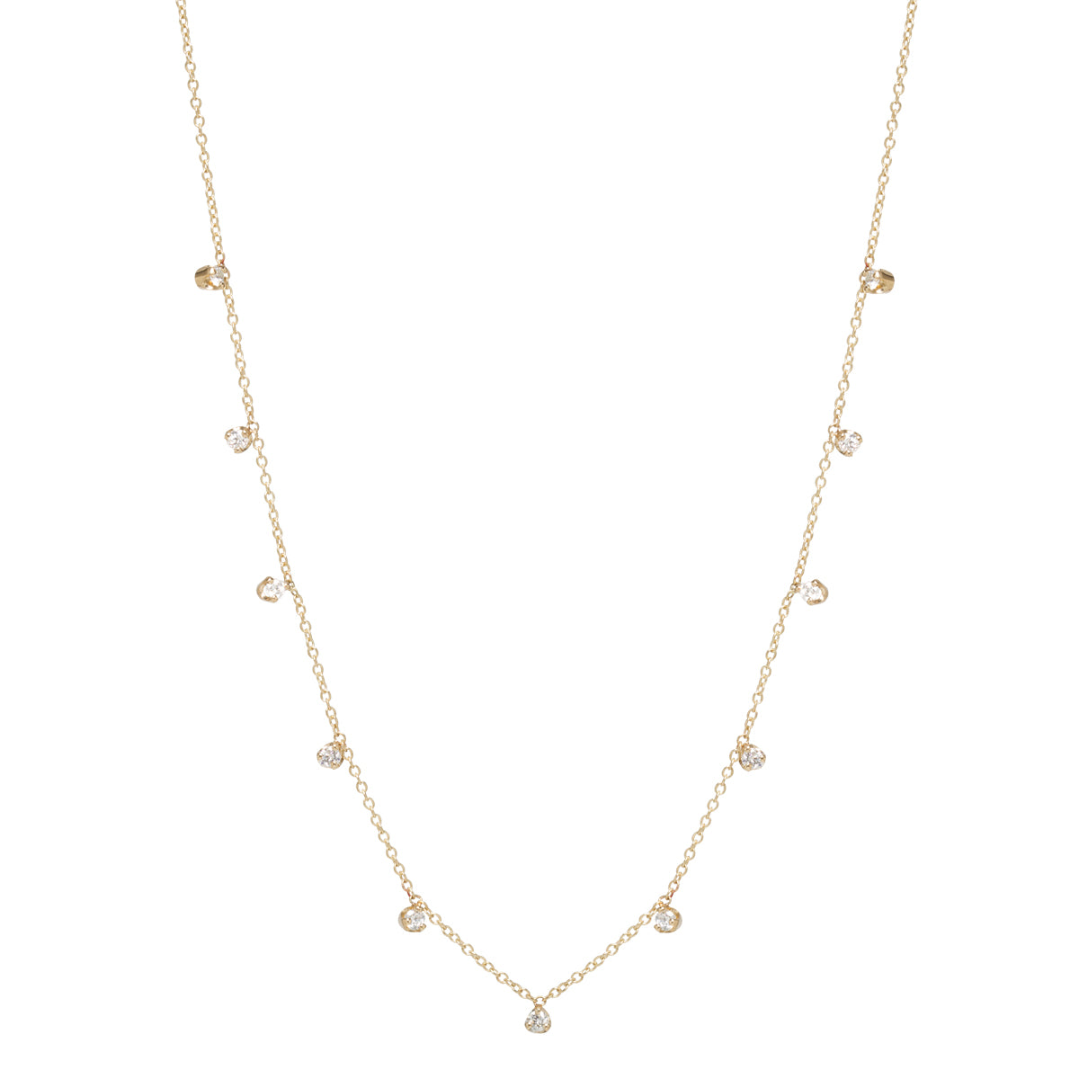 14k 11 prong set diamonds station necklace