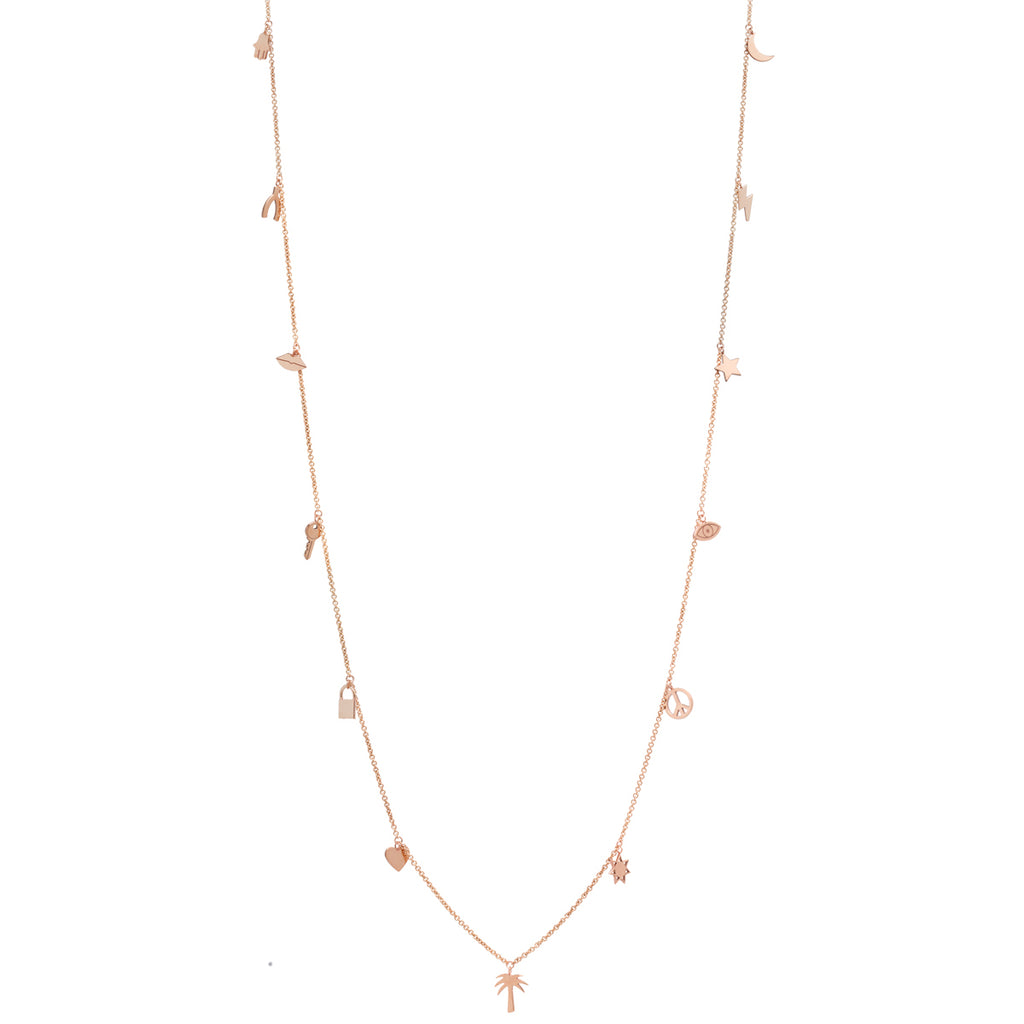 14k long midi bitty necklace with 13 mixed dangling charms