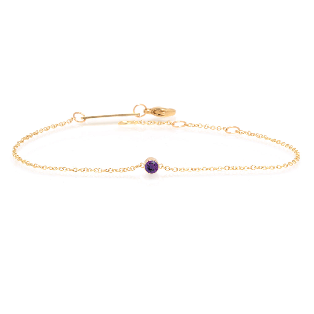 14k single bezel amethyst bracelet | February BIRTHSTONE